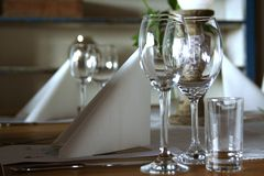 Glasses. Dinner table Royalty Free Stock Photos