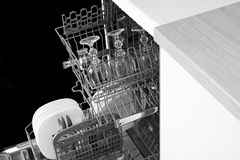 Glasses in the dishwasher. Royalty Free Stock Images
