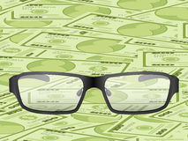 Glasses on dollar background Stock Photo