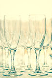 Glasses for drinks and cocktails at  festive table. toned Stock Images