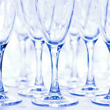 Glasses for drinks and cocktails at  festive table. toned Royalty Free Stock Images
