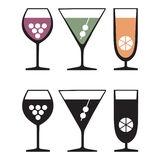 Glasses of drinks, icons Royalty Free Stock Images