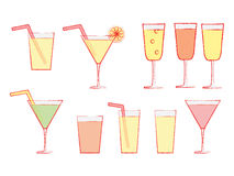 Glasses with drinks Stock Images