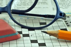 Crossword puzzle in close up stock illustration