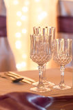 Glasses on event table Stock Photo