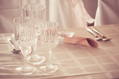 Glasses on event table Royalty Free Stock Images