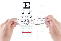 Glasses exam ophtalmologist. Glasses in hands, eye exam chart ophthalmologist isolated on white background Stock Image