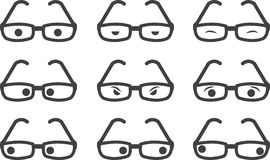 Glasses Expressions. Plastic framed glasses with various eyed expressions Royalty Free Stock Photography