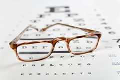 Glasses on a eye chart Royalty Free Stock Photo