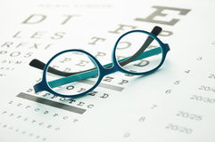 Glasses on eye chart Stock Photography