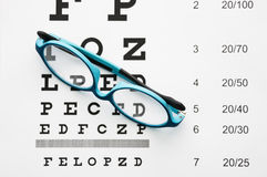 Glasses on eye chart. Glasses on the eye chart royalty free stock photography