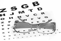 Glasses and eye-chart Stock Images