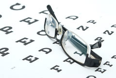 Glasses with eye chart i Royalty Free Stock Photos