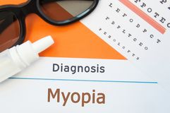 Glasses, eye drops and eye test chart is around inscription Diagnosis Myopia Nearsightedness. Concept photo for causes, diagnosi. S, treatment and prevention of Stock Image