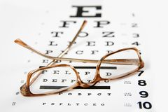 Glasses on a eye exam chart royalty free stock photography