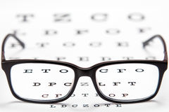 Glasses on a eye exam chart Royalty Free Stock Image
