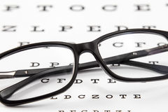 Glasses on a eye sight test char Royalty Free Stock Photos