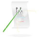 Glasses on a eye sight test chart. Vector illustration Stock Image