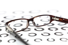 Glasses on eye test Royalty Free Stock Images