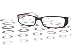 Glasses on eye test Royalty Free Stock Photos