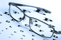 Glasses and eyechart Royalty Free Stock Image