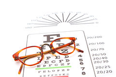 Glasses on a eyechart Stock Photos