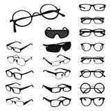 Glasses Eyeglasses Spectacles Silhouette Shape Variations Set.  vector illustration