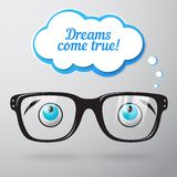 Glasses with eyes dreaming concept Stock Image