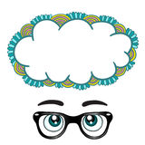 Glasses with eyes dreaming concept Royalty Free Stock Image