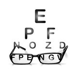 Glasses and eyes test Royalty Free Stock Photo