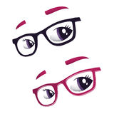 Glasses and eyes Stock Images