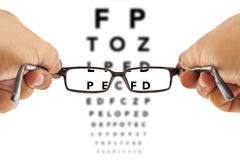 Glasses and eyesight test Stock Photos