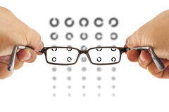 Glasses and eyesight test Stock Photography
