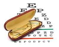 Glasses on eyesight test chart Stock Photography