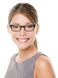 Glasses eyewear business woman happy portrait. Glasses eyewear woman happy portrait looking at camera with big smile. Close up portrait of female business woman Royalty Free Stock Photography