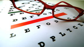Glasses falling over an eye test stock footage