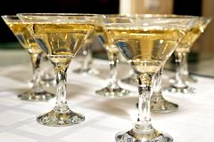 Several glasses of famous cocktail Martini, shot at a bar with s royalty free stock image