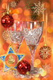Glasses on a festive New Year's table Stock Photos
