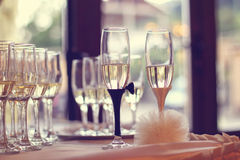 Glasses filled with campagne on wedding day royalty free stock photos