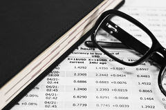 Glasses and financial documents Royalty Free Stock Photo