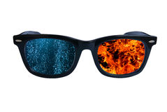 Glasses Fire Waters Royalty Free Stock Images