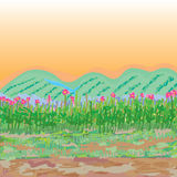 Glasses flowers sketch style landscape. Illustration drawing landscape flowers grasses mountain river land color orange background graphic element Royalty Free Stock Photography
