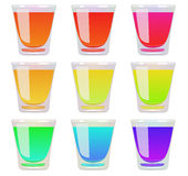 Glasses of fluid a different color. Vector. EPS 10. Stock Image