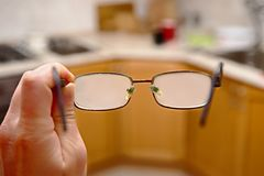 Glasses fogged coming in from the cold Royalty Free Stock Photos