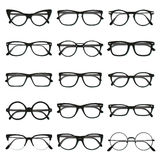 Glasses frame set. Flat vector glasses big set illustration. Collection of different of rim glasses types - round, square, cat eye glasses. Different style Royalty Free Stock Photo