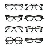 Glasses frame set. Flat vector glasses big set illustration. Collection of different of rim glasses types - round, square, cat eye glasses. Different style Stock Photo