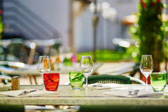 Glasses in a French restaurant Royalty Free Stock Image