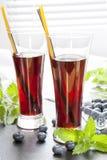 Glasses with fresh Black Currant juice. Bog blueberry and lemon balm Stock Images