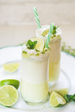 Glasses of fresh Brazilian lemonade or limeade. With sugared rim, for summer refreshment. Macro, selective focus, blank space stock image