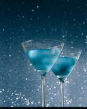 Glasses of  fresh cocktail with ice on bar table Stock Photography